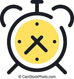 horloge, reveil, moderne, ligne, isolé, vecteur, mince, fond, blanc, icon., icône