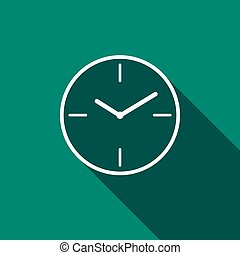 horloge, shadow., long, icône