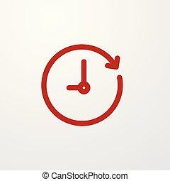 horloge, temps, aller, flèche, forward., rouges, icône