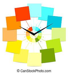 horloge, texte, créatif, conception, autocollants, ton