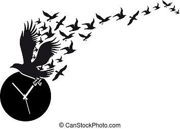 horloge, voler, vecteur, oiseaux