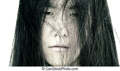 horreur, femme, expression, asiatique