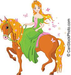 horse., équitation, princesse, printemps