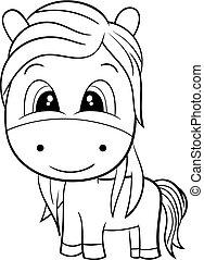 horse., noir, mignon, dessin animé, blanc
