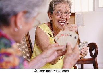 hospice, carte joue, vieux, jeu, femmes, jouir de