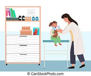 hospital., teddy, enfant, docteur, plaie, assied, ours, examine, bébé, regarde, throat., pédiatre