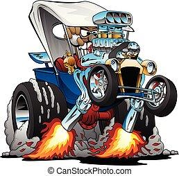 hotrod, illustration, coutume, vecteur, t-bucket, dessin animé, roadster