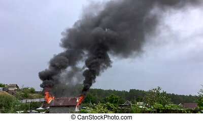 house., brûler, mouvement, cottage., lent, brûlures