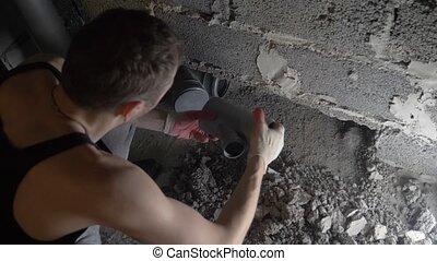 house., canaux transmission, pose, site, ouvrier construction, nouveau, égout