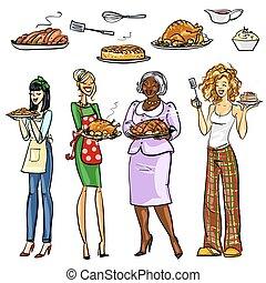 housewifes, repas, joli