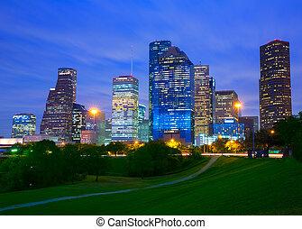 houston, moderne, parc, horizon, coucher soleil, crépuscule, texas