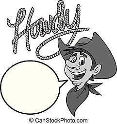howdy, illustration, cow-boy