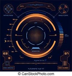 hud, écran, toucher, interface utilisateur, futuriste