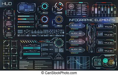 hud, éléments, business, app., infographic, ui, interface utilisateur, futuriste
