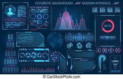 hud, éléments, infographic, interface, conception, futuriste