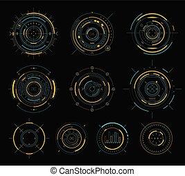 hud, éléments, sci-fi, vecteur, interface utilisateur, exposer, futuriste, circulaire