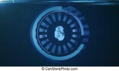 hud, bleu, différent, elements., incandescent, interface, cercle, boucle