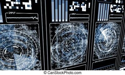 hud, bleu, -, futuriste, fond, technologique, interface, gamma