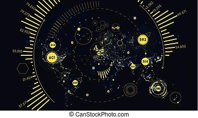 hud, carte, réseau, télécommunication, global, analytics, vecteur, interface, mondiale, technologie, futuriste