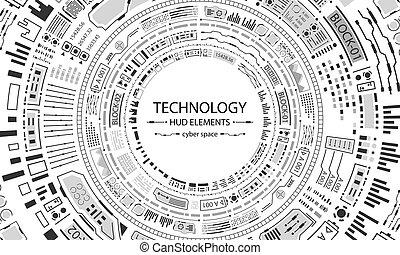 hud, cercles, fond, technologie, conception, futuriste