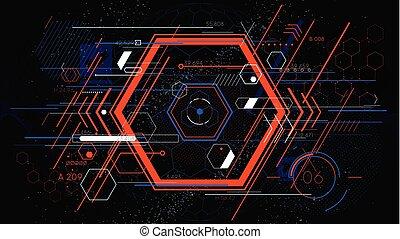 hud, coloré, hexahedron, résumé, arrière-plans, vecteur, technologie, géométrique, futuriste