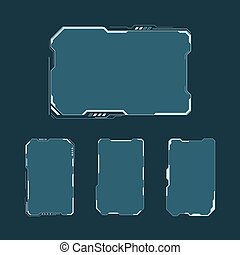 hud, contrôle, éléments, disposition, set., écran, panneau, futuriste, illustration, exposer, vecteur, technologie, virtuel, interface, fi, design., résumé, sci, utilisateur