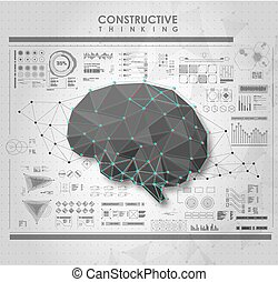 hud, elements., polygonal, cerveau, utilisateur, interface., conceptuel, futuriste