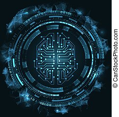 hud, elements., ui, cerveau, utilisateur, circuit, interface, conceptuel, futuriste
