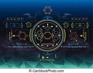 hud, ensemble, elements., infographic, interface utilisateur, futuriste