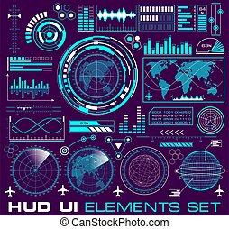 hud, ensemble, graphique, interface, utilisateur, futuriste, elements.