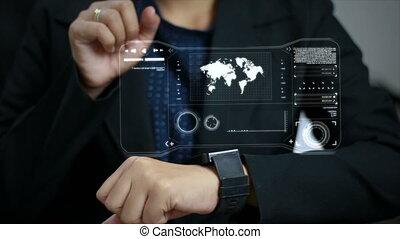 hud, femme, coup, fin, montre, haut, 4k, mains, interface, utilisation, intelligent, utilisateur