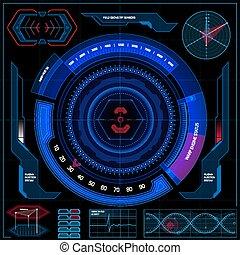 hud., futuriste, écran, interface, toucher, utilisateur, illustration, vecteur