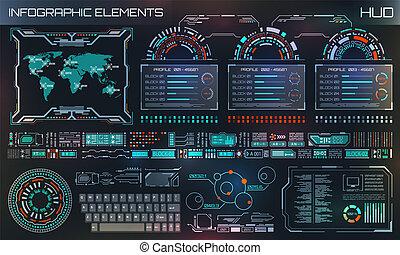 hud, graphique, elements., résumé, ui, virtuel, infographic, utilisateur, gabarit, interface, futuriste