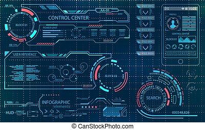 hud, graphique, futuriste, virtuel, mouvement, infographic, ui, utilisateur, interface., toucher, conception, vr., éléments