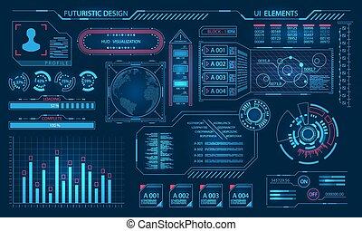 hud, graphique, virtuel, éléments, interface, futuriste, utilisateur