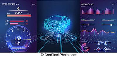 hud, graphique, voitures, résumé, virtuel, ui., utilisateur, interface., toucher, infographic., futuriste
