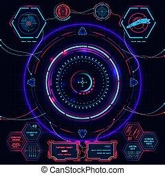 hud., illustration, futuriste, interface, écran, utilisateur, vecteur, toucher