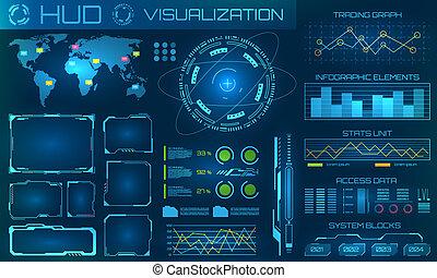 hud, information, visualisation, arrière-plan., infographic, interface, technologie, ou, futuriste