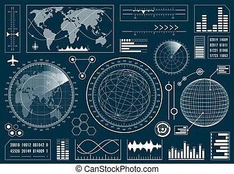 hud, interface, ensemble, utilisateur, futuriste