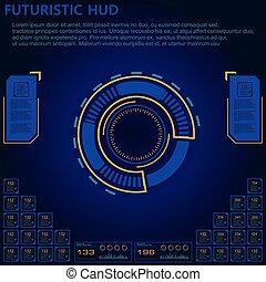 hud, interface, sci, résumé, set., moderne, utilisateur, futuriste, fi