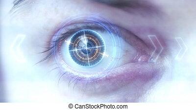 hud, monitor., oeil, futuriste, /