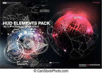hud, points, elements., structure., résumé, infographic, interface, connexion, lines., ui, utilisateur, fond, ux., connecter, futuriste