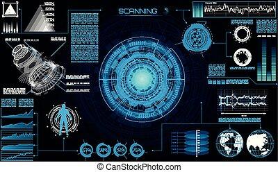 hud, sci, résumé, moderne, interface., fi, futuriste