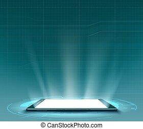 hud, smartphone, screen., utilisateur, vide, interface, blanc, futuriste