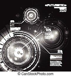 hud, vecteur, fond, résumé, interface, futuriste