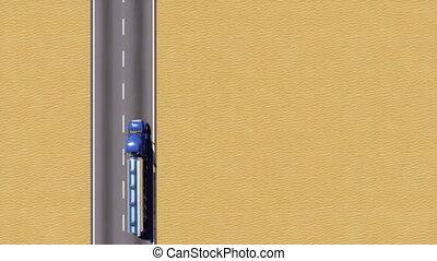 huile, aérien, sommet, camion, réservoir, vue, désert, route, 3d