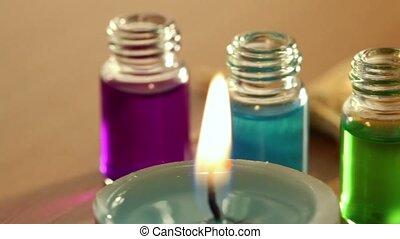 huile, bouteilles, couleur, bougies, deux, brulure, arôme, peu, poser, étoile mer, ouvert