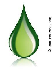 huile, carburant, icône, goutte, vert, bio