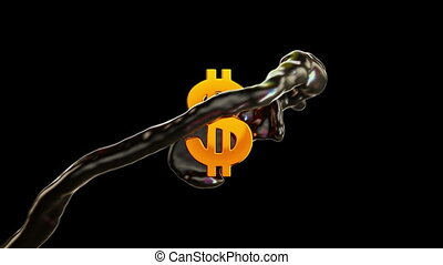 huile, &, couler, dollar, industry:, brut