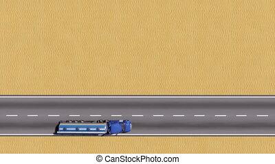 huile, espace, vue dessus, camion, copie, désert, route, 3d